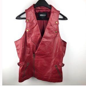 UO genuine leather red Moto vest 6 sm